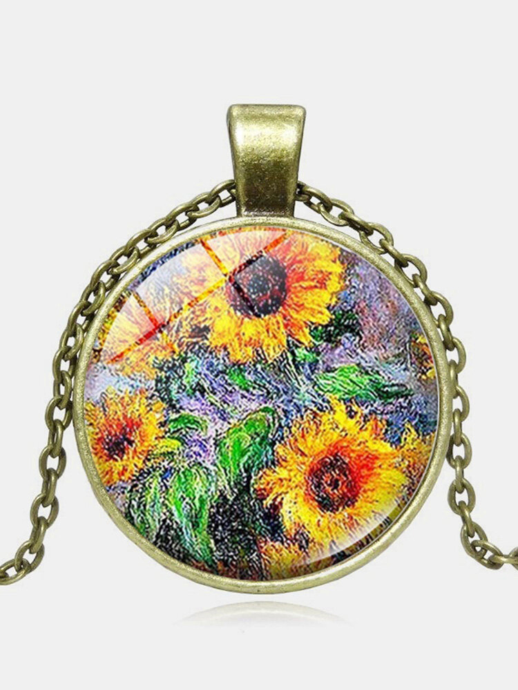 Fashion Geometric Round Sunflower Pendant Necklace Adjustable Star Moon Sweater Chain Women Jewelry Gifts
