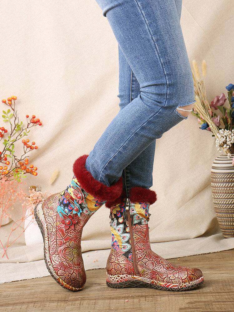 SOCOFY Elegant Colorful Cloth Splicing Printed Leather Comfy Warm Casual Flat Boots