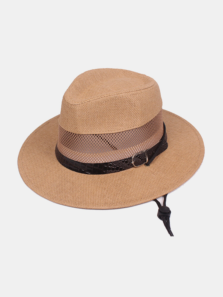 Men's Flat Brim Mesh Solid Belt Jazz Hat Canvas Material Breathable Flexible Classic Sun Hat