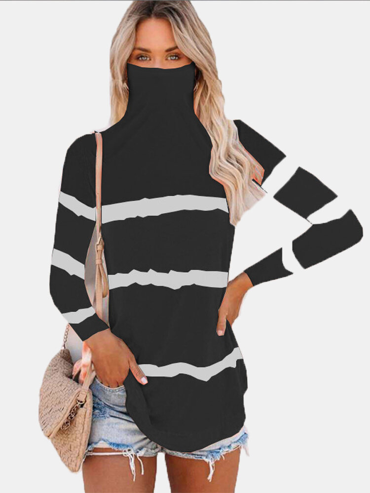 High Neck Striped Patchwork Plus Size T-shirt For Women