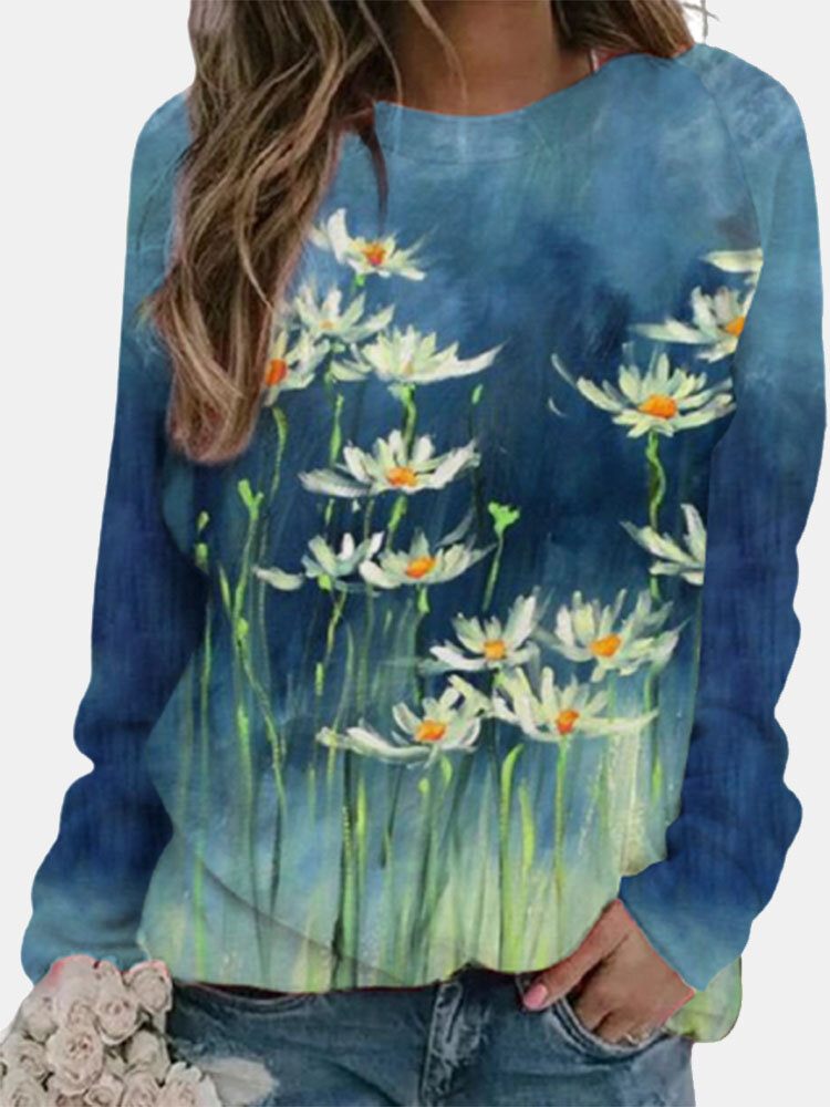 Calico Printed Long Sleeve O-neck T-shirt For Women