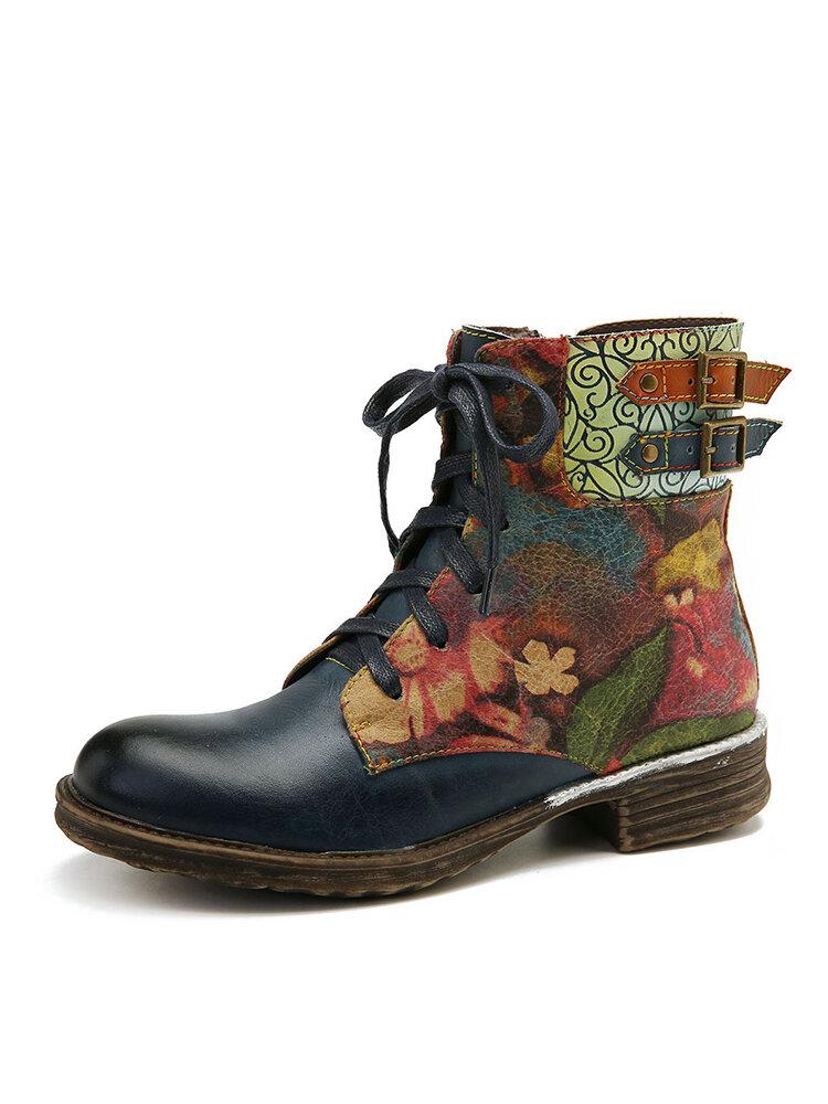 SOCOFY Womens Watercolor روز جلد طبيعي سستة الدانتيل يصل الأحذية المسطحة