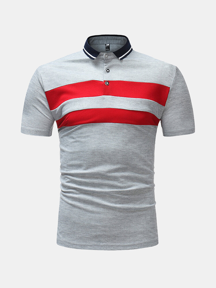 Mens Summer Breathable Striped Slim Fit Business Casual Golf Shirt
