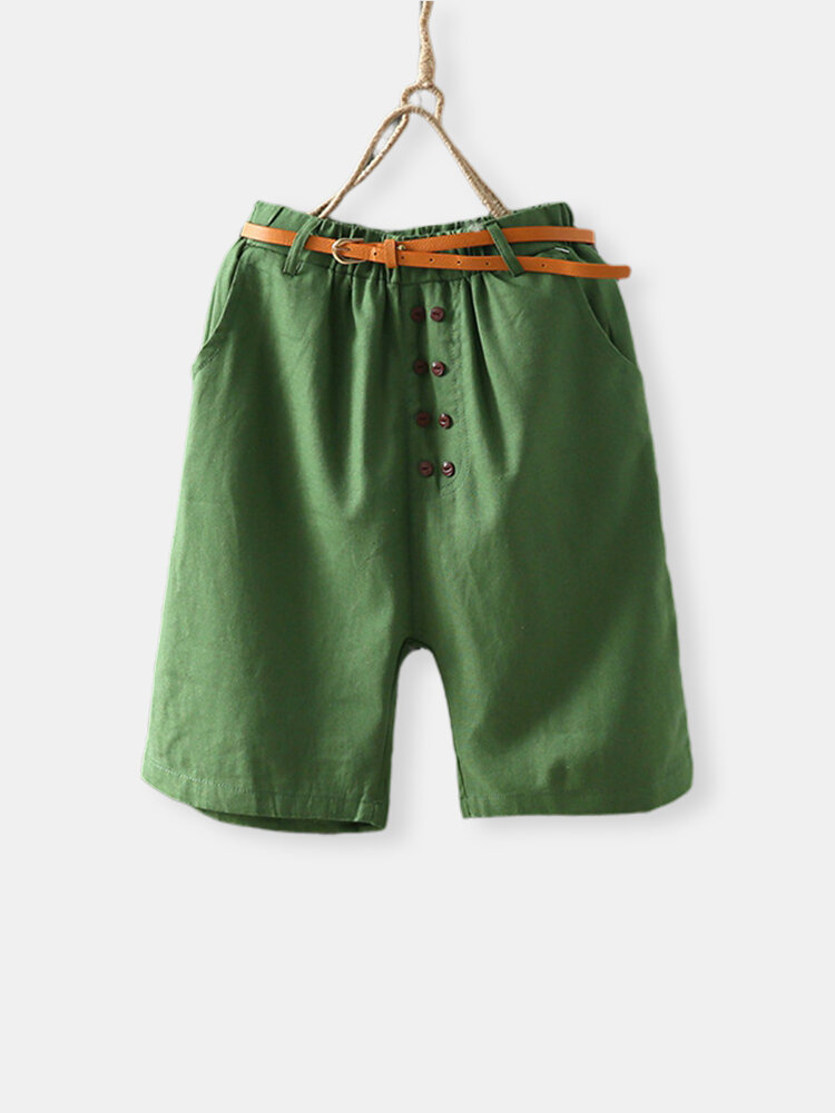 Button Elastic Waist Solid Color Casual Shorts