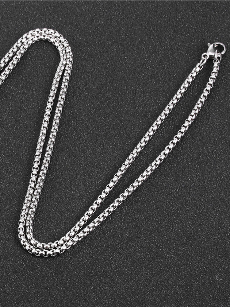Trendy Simple Square Pearl Chain Stainless Steel Necklace