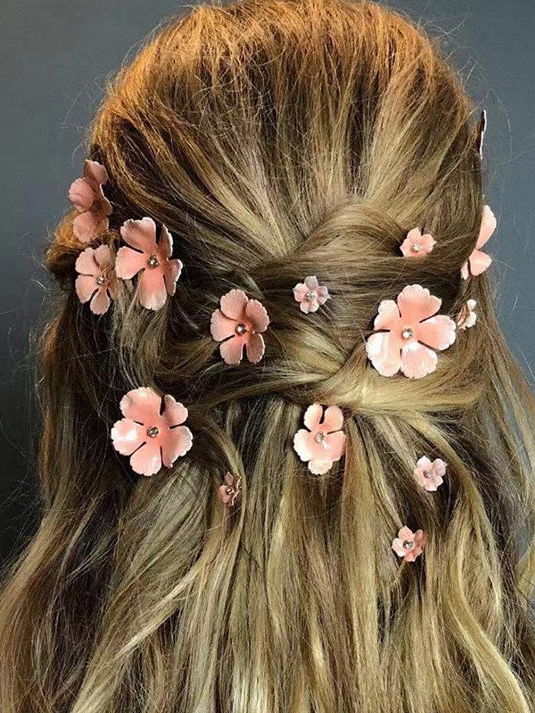 Vintage Gold-plated Flower Hair Clip Stereoscopic Flower Rhinestone Hairpin Hair Accessories