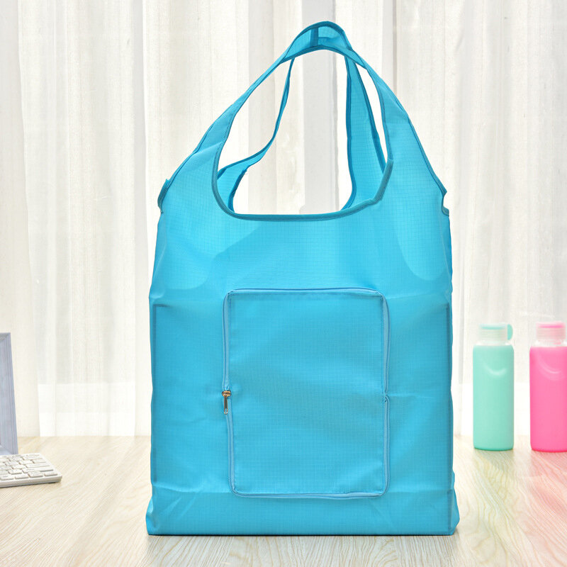 Solid_Polyester_Waterproof_Shopping_Bag_Reusable_Foldable_Tote_Shoulder_Bag