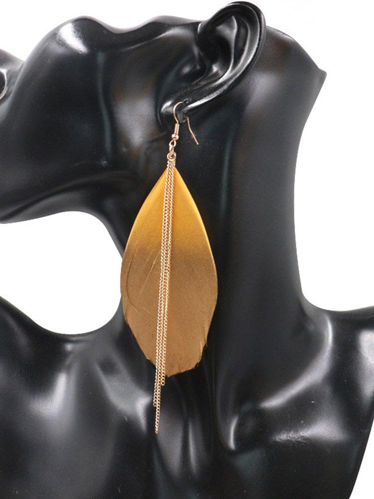 Vintage Ear Drop Earrings Colorful Gradient Feather Chain Tassels Earrings Ethnic Jewelry for Women
