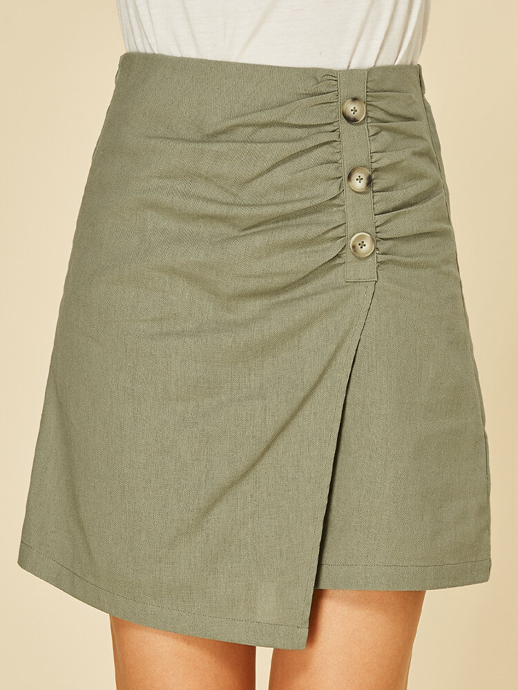Solid Color Button Asymmetrical Short Casual Skirt for Women
