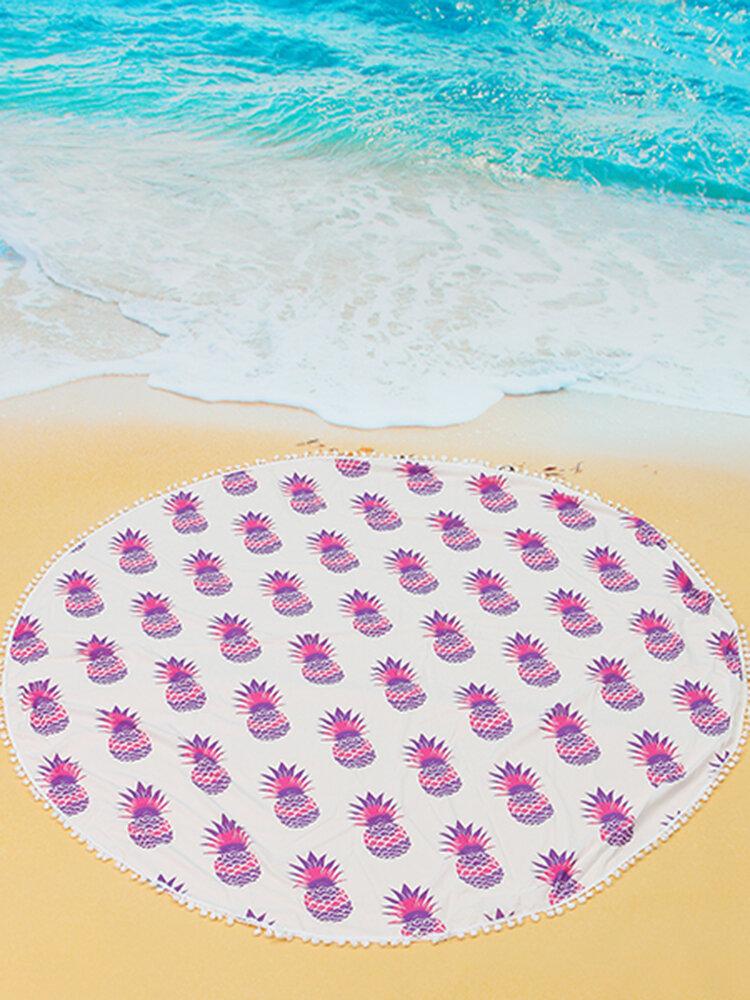 5色パイナップル印刷ビーチヨガタオルタペストリーテーブルクロスタッセルショール