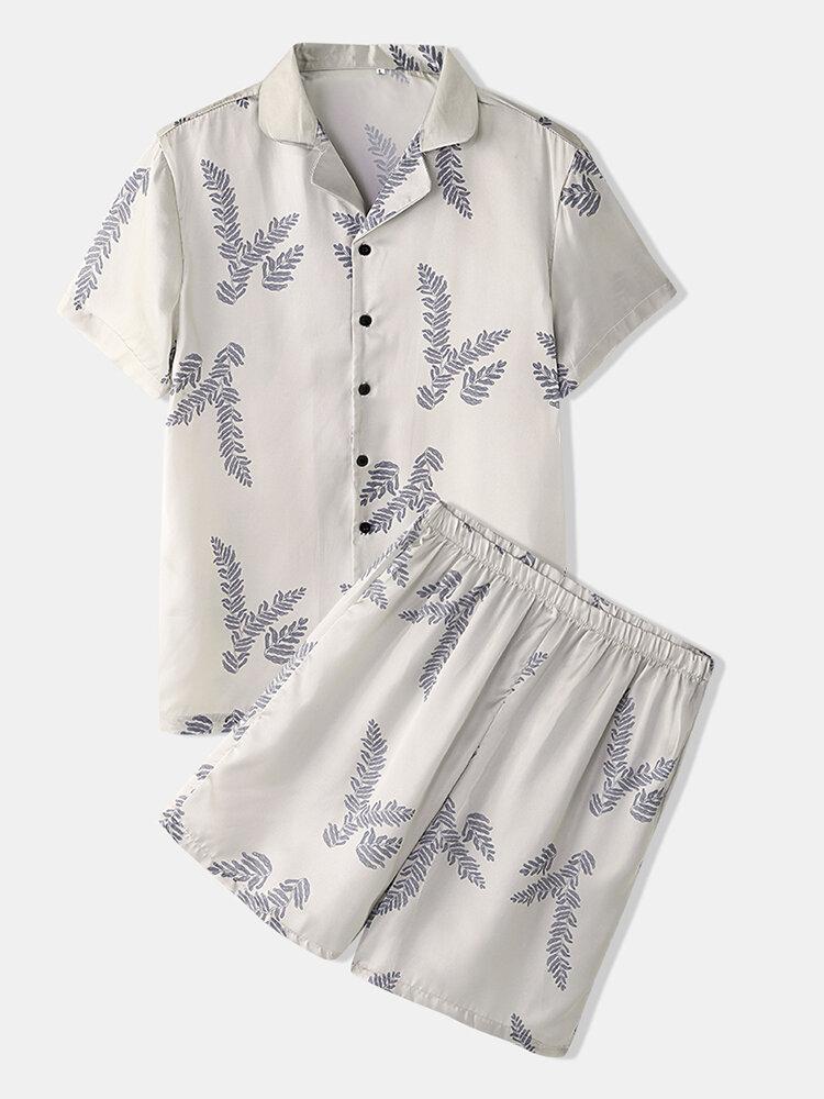 Mens Tropical Plant Leaves Print Silky Short Sleeve Revere Collar Sleepwear Pajama Set