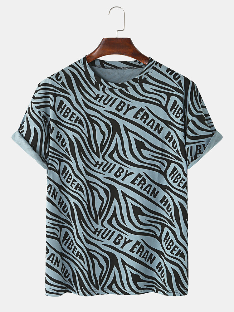 Mens Abstract Printed Cotton Round Neck Casual Short Sleeve T-shirts