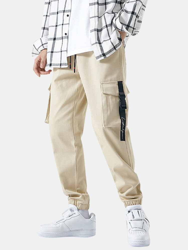 Mens Cotton Solid Drawstring Elastic Ankle Cargo Pants With Push Buckle Pocket