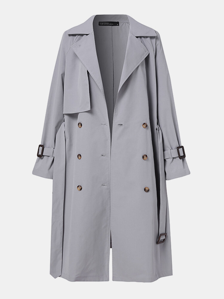 Solid Color Button Knotted Lapel Collar Casual Coat For Women