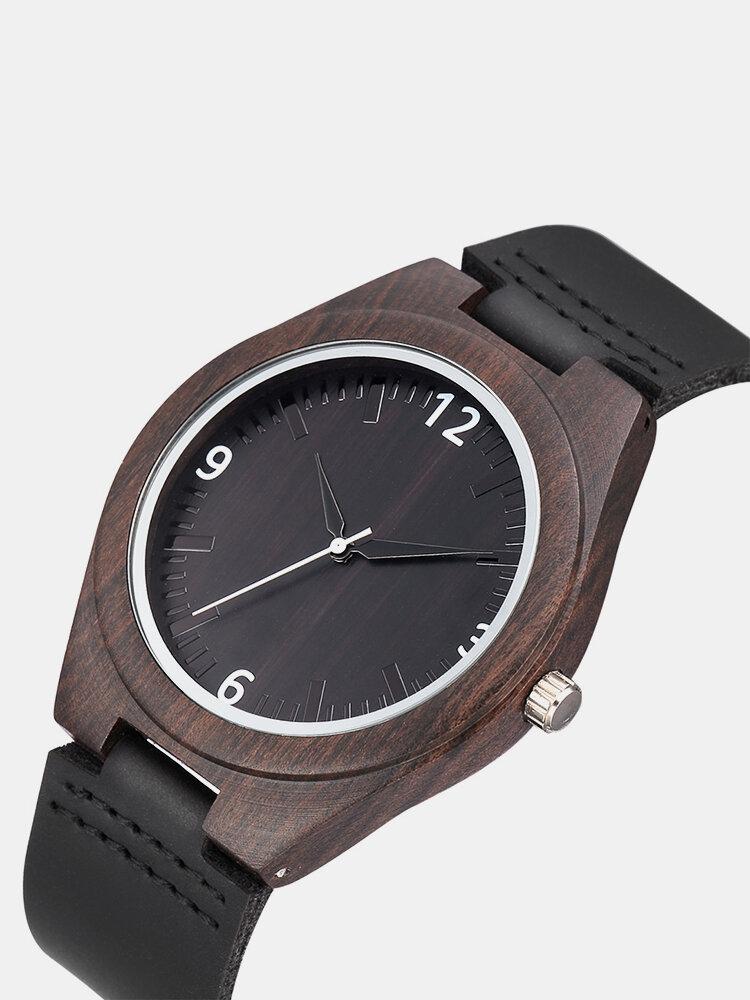 Luxury Wood Genuine Leather Watches Sandalwood Quartz Wristwatches Punk Skull Casual Watch for Men