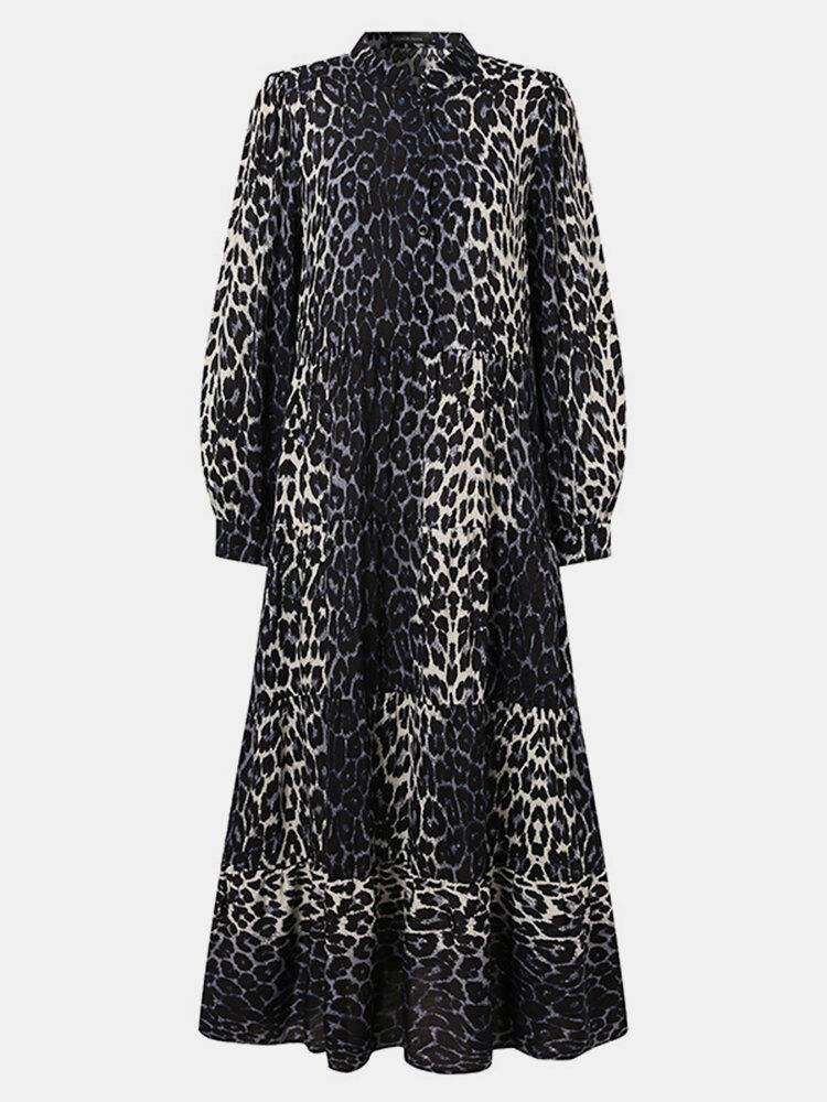 Leopard Print Pleated Long Sleeve Casual Dress for Women