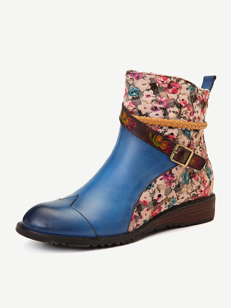 SOCOFY Genuine Leather Stitching Embroidery Bohemia Woven Rope Zipper Flat Ankle Boots