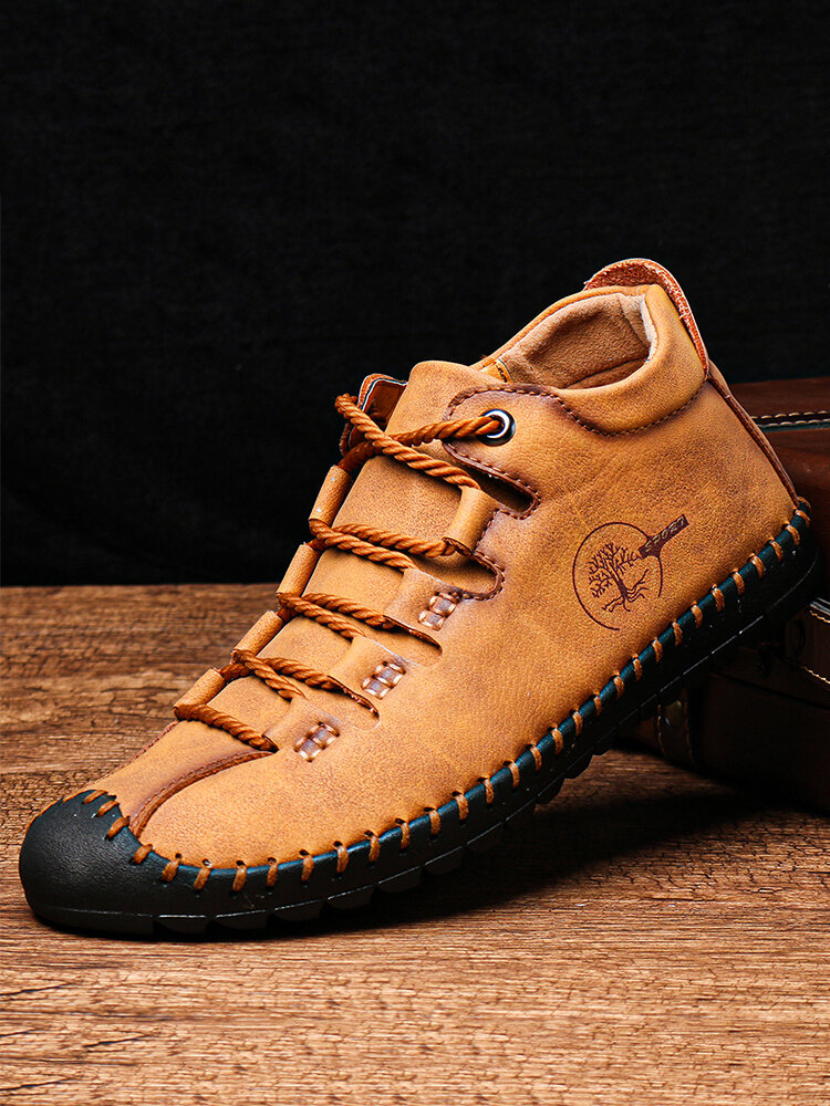 Men Hand Stitching Comfy Soft Microfiber Leather Lace Up Ankle Boots