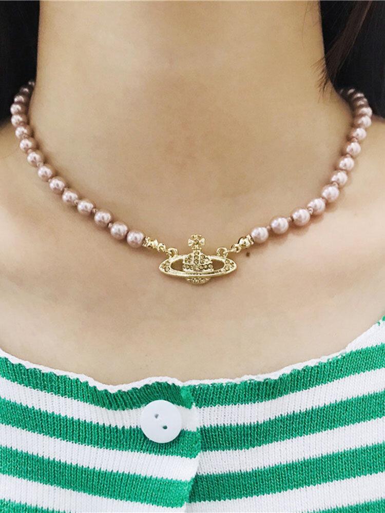 Luxury Full Diamond Shiny Saturn Women Necklace Crystal Pearl Saturn Pendant Necklace
