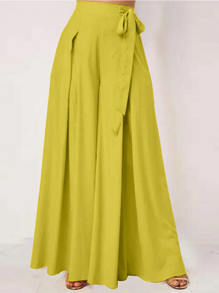 Solid Color Wide-legged Bowknot Belt Pleated Loose Pants