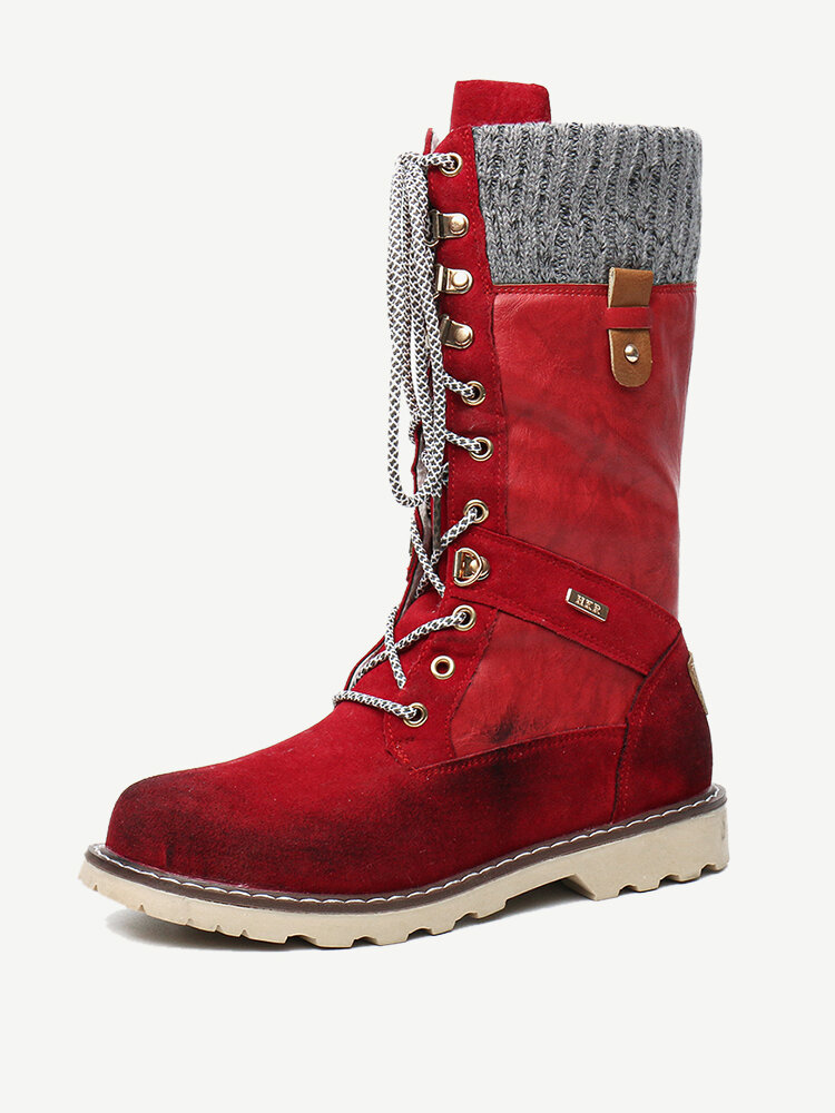 Women Winter Casual Splicing Lace Up Flat Mid Calf Snow Boots