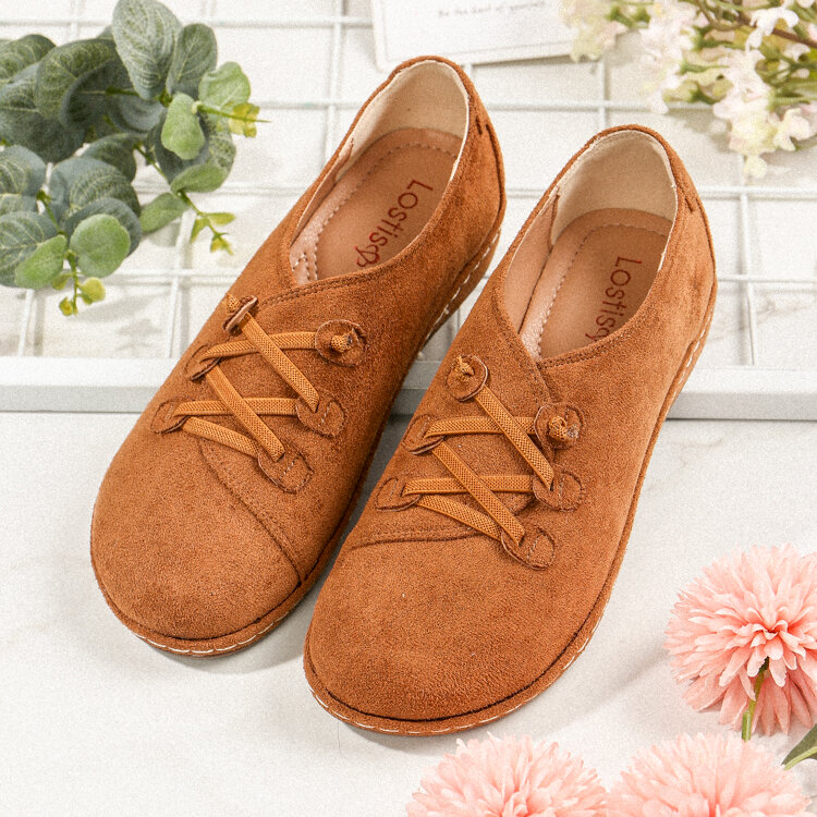 LOSTISY Casual Suede Elastic Band Flat Shoes for Women
