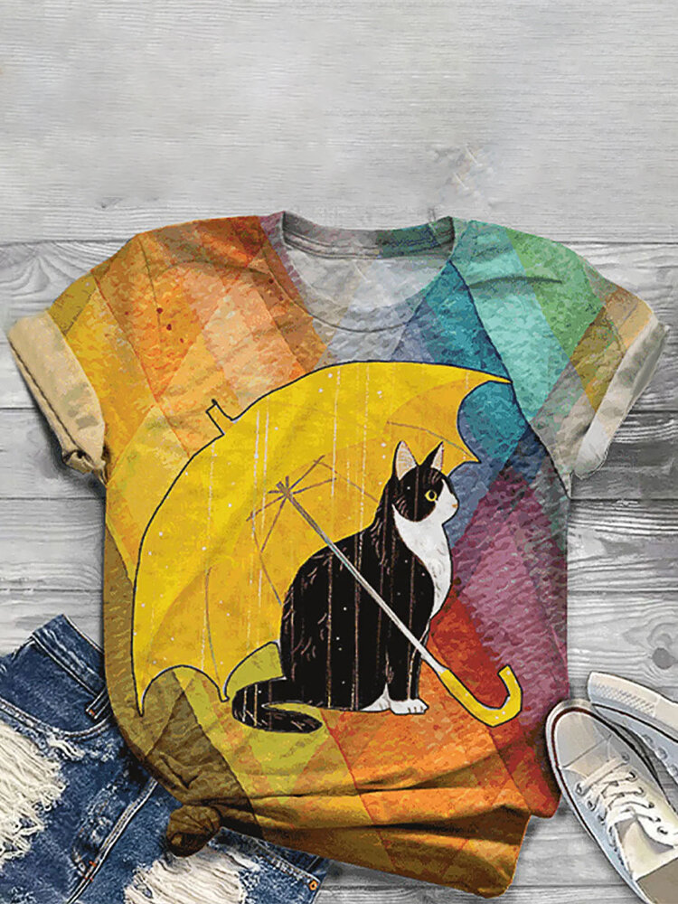 Cartoon Cat Umbrella Print O-neck Short Sleeve Casual T-shirt For Women