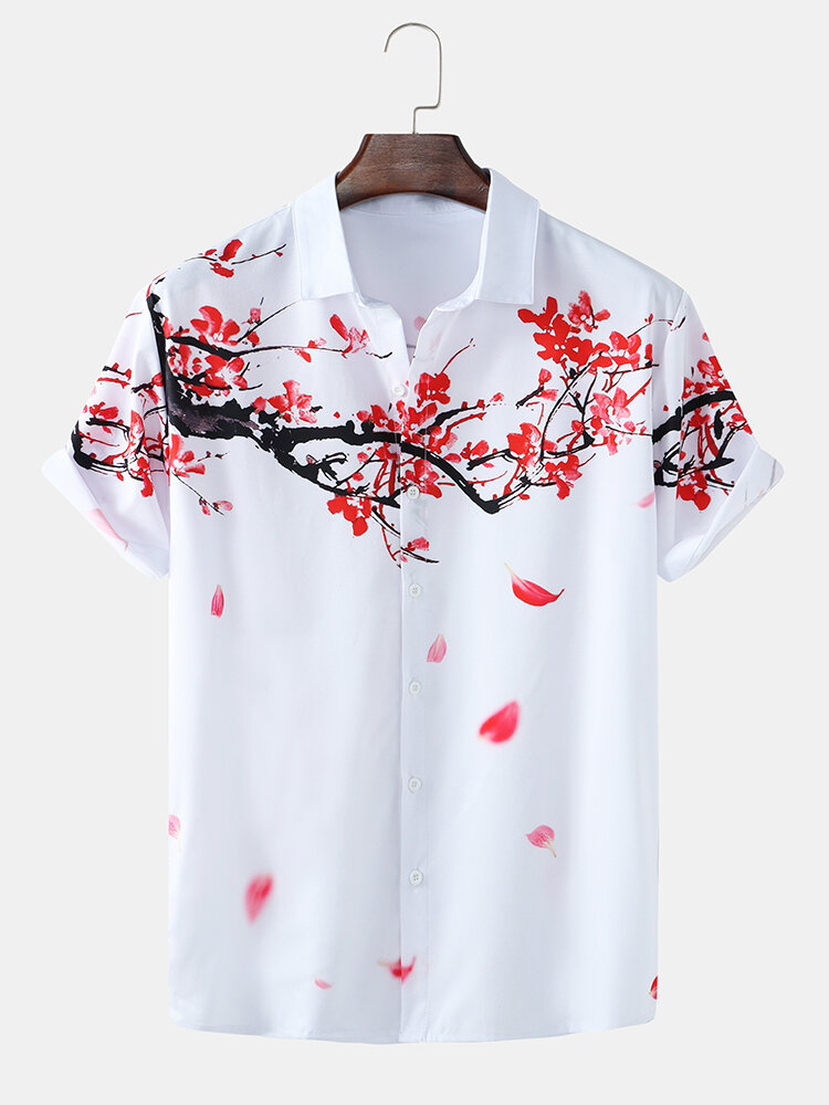 Mens Front And Back Plum Blossom Print Lapel Short Sleeve Shirts