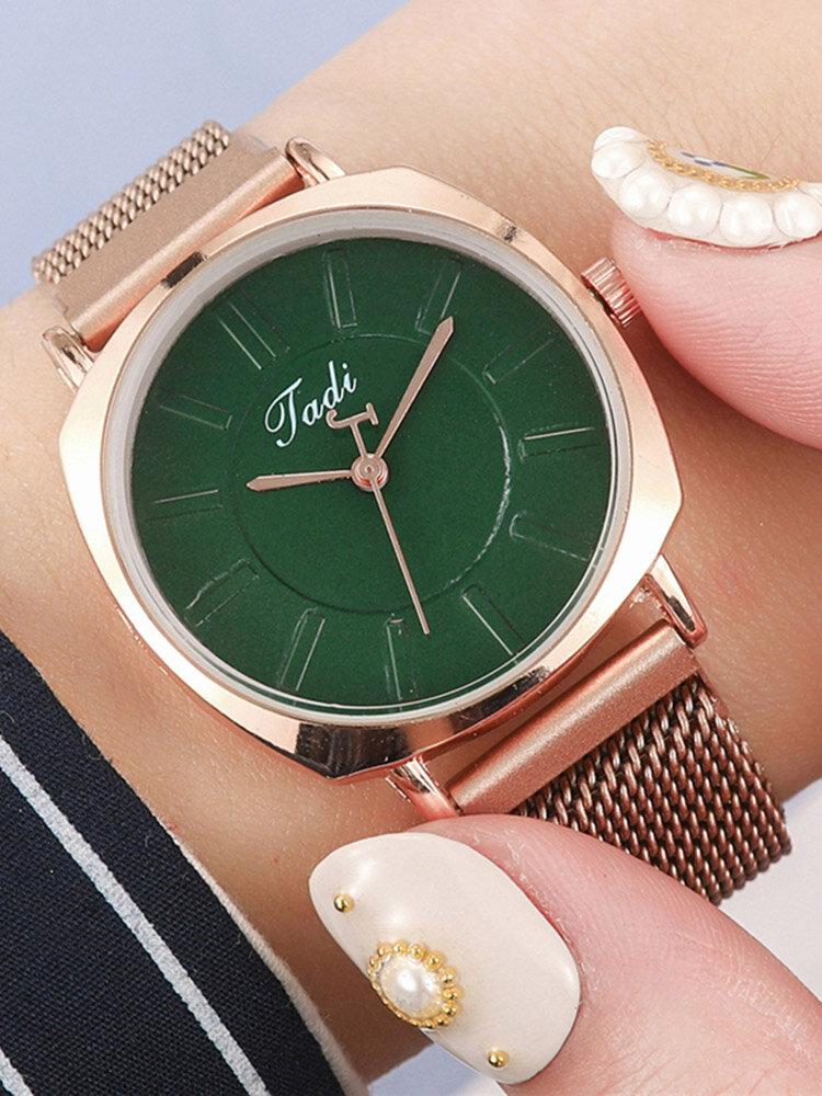 Trendy Classic Women Wristwatch Rose Gold Case Round Dial Full Alloy Quartz Watches