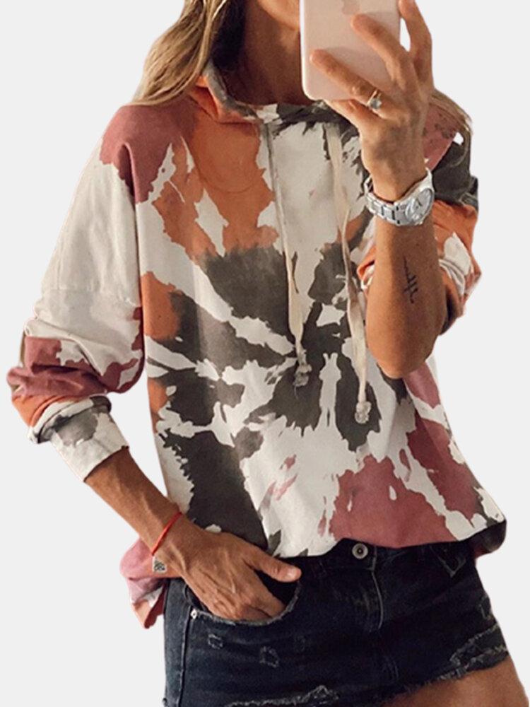 女性のための絞り染めプリント多色長袖カジュアルパーカー