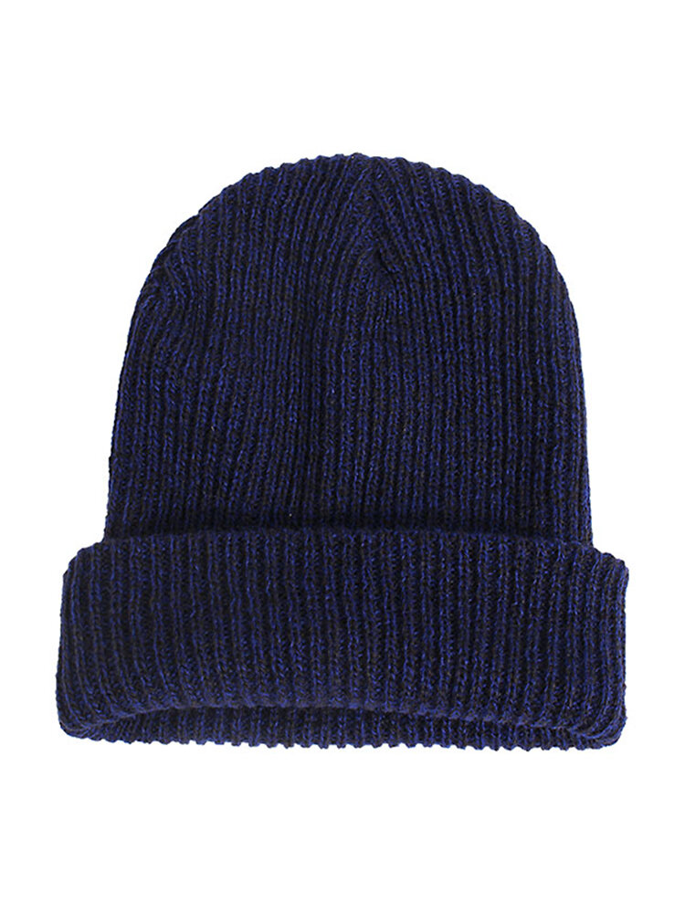 Men Women Casual Stripe Slouch Beanie Cap Wool Knitted Elastic Thermal Hat
