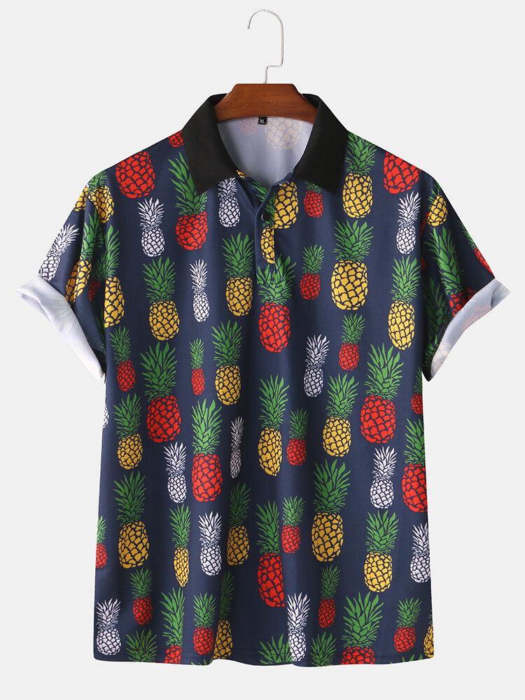 Mens Casual Pineapple Printed Short Sleeve Slim Fit Polo Shirts