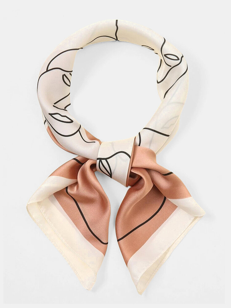 Women Dacron Dual-use Abstract Character Pattern Printing Headband Square Scarf