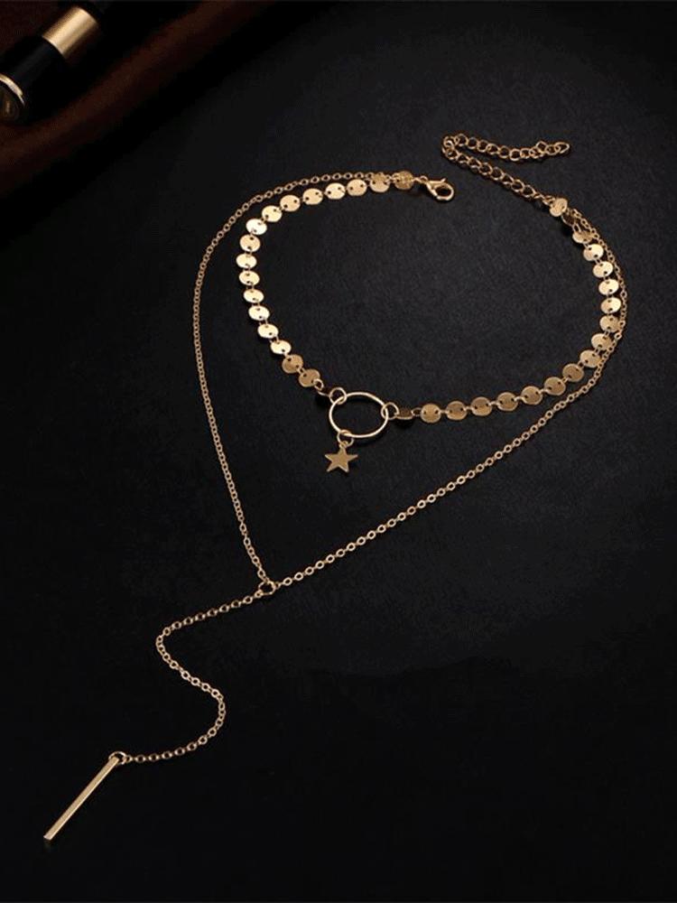 Bohemian Multilayer Necklace Star Bar Tassel Pendant Fashion Paillette Chain Necklace for Women