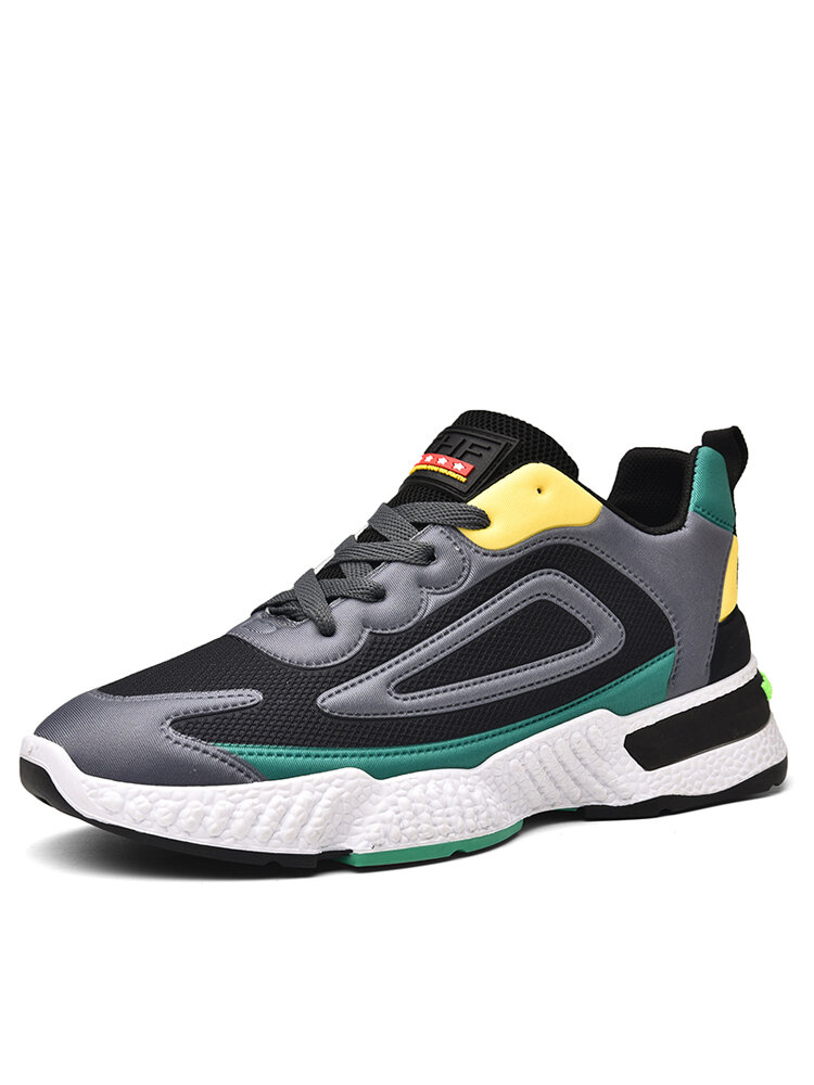 Men Casual Color Blocking Lace-up Soft Hard Wearing Chunky Sneaker Shoes