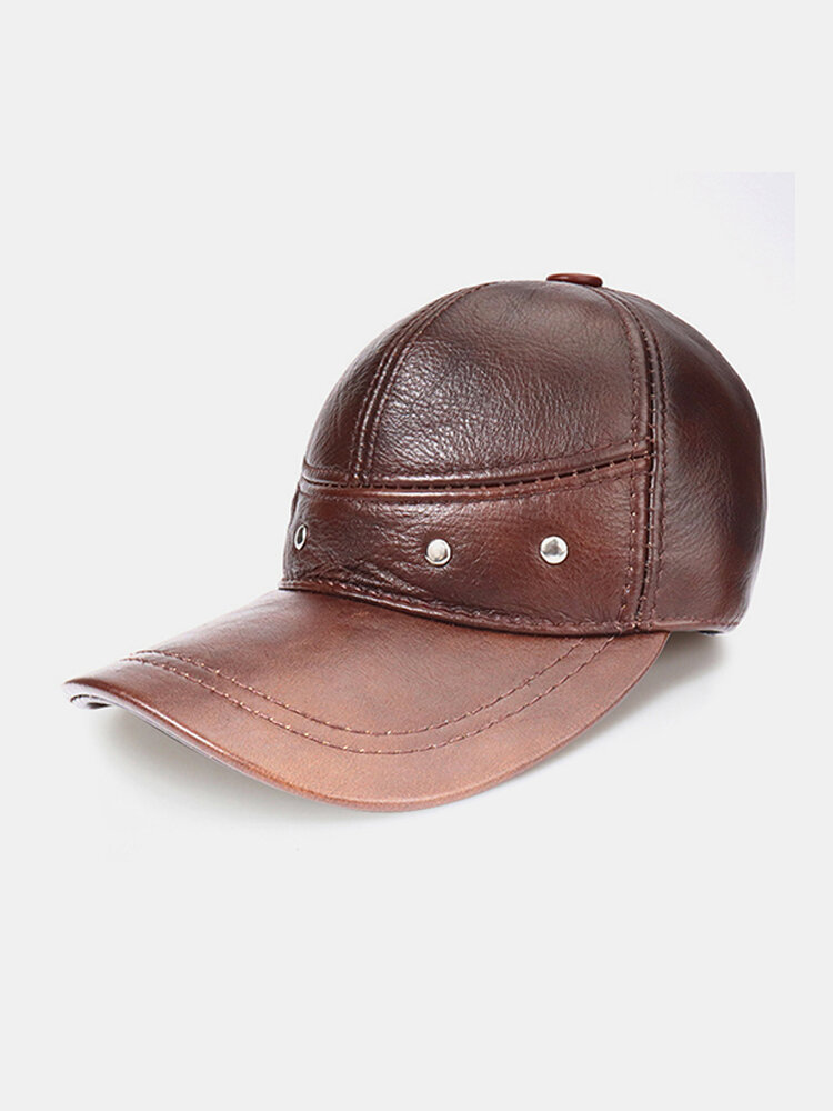 Men's Leather Top Layer Cowhide Dome Big Eaves Warm Autumn Winter Thickening And Cotton Windproof Earmuffs Baseball Hat