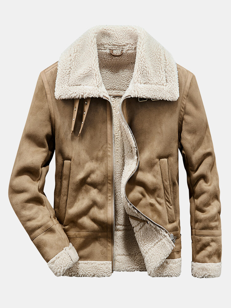 Mens Vintage Woolen Lined Thick Leather Lapel Warm Casual Jacket
