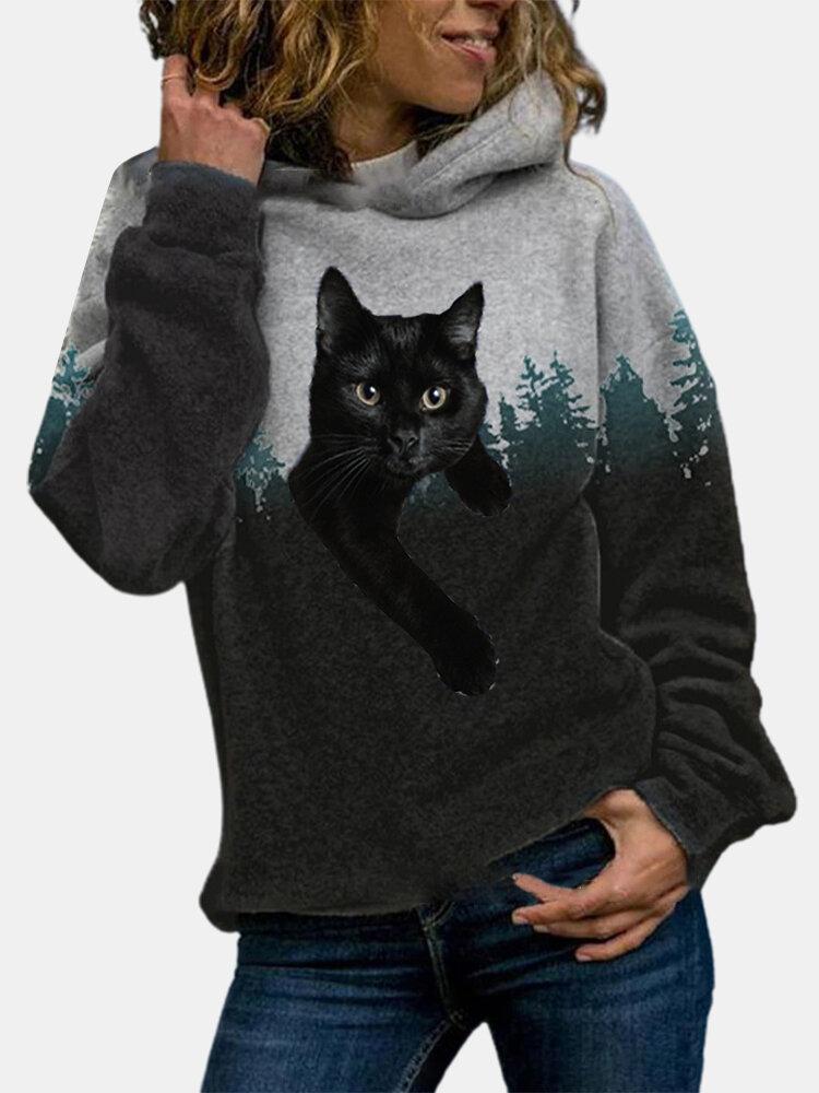 Black Cat Landscape Print Casual Drawstring Plus Size Hoodie