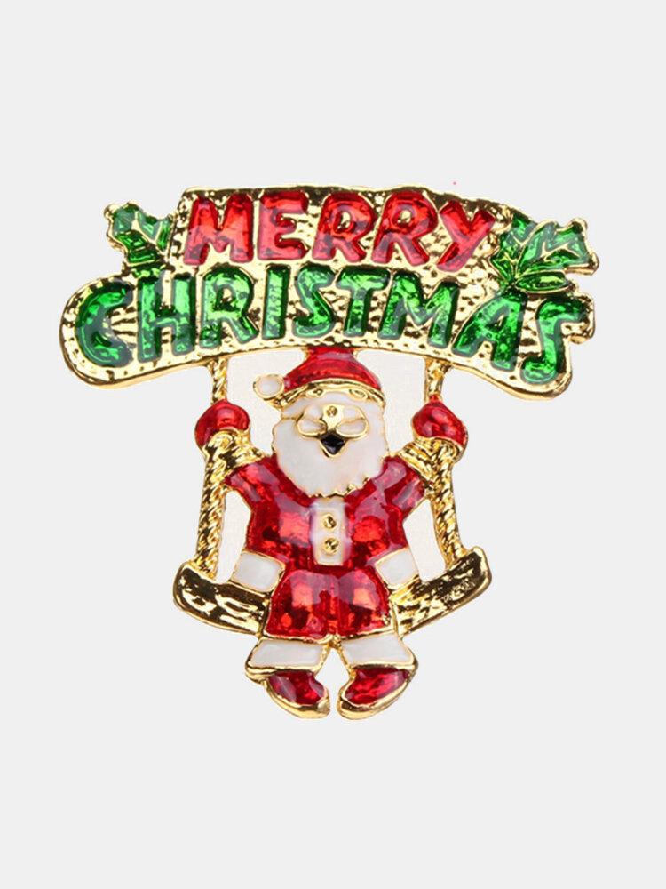 Santa Socks Trees Alloy Christmas Brooch