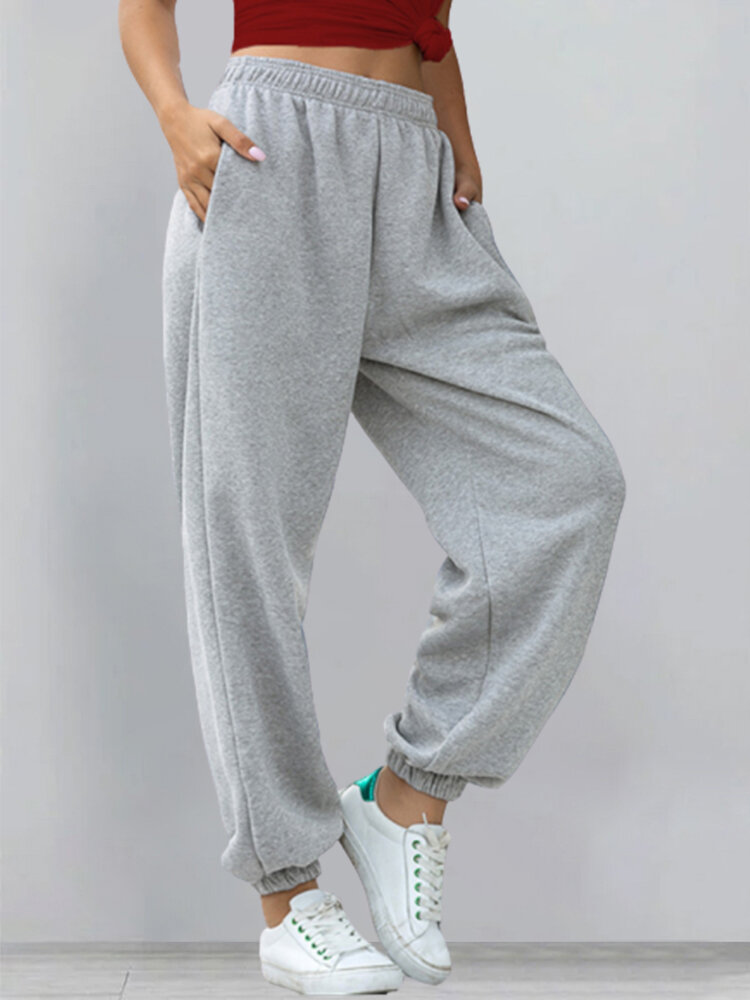 Casual Solid Color Elastic Waist Sports Pants For Women