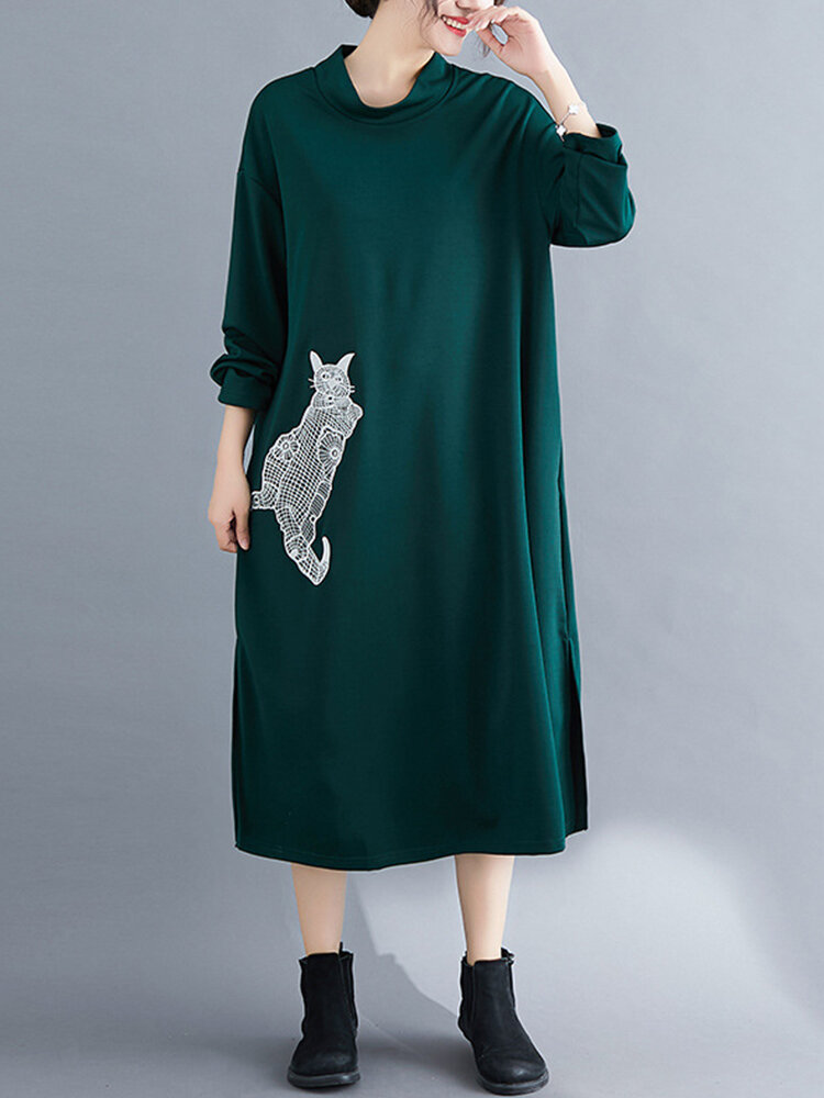 Cat Embroidered Turtleneck Long Sleeve Casual Maxi Dress For Women