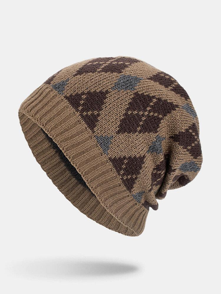 मेन विंटर Plus वेलवेट जियोमेट्रिक पैटर्न आउटडोर लंबे बुना हुआ गर्म बेनी टोपी