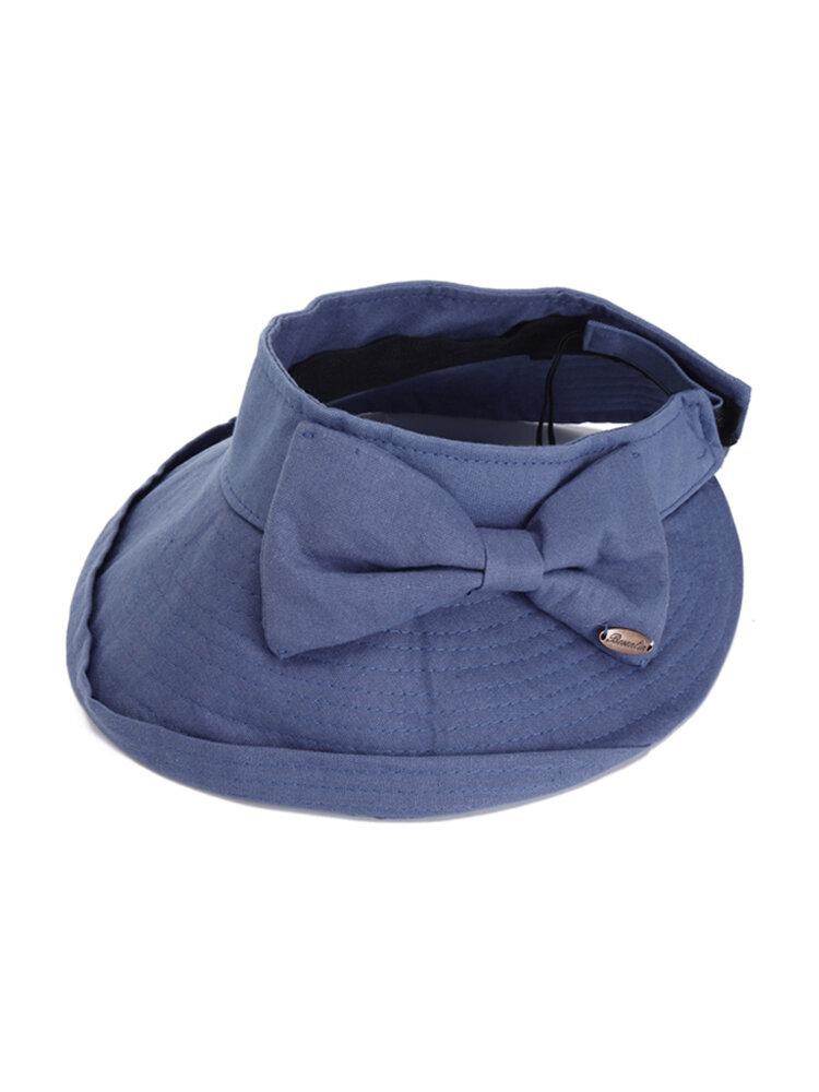 Womens Cotton Bow Emty Top Wide Brim Bucket Cap Sunshade Sport Outdoor Anti-UV Hats