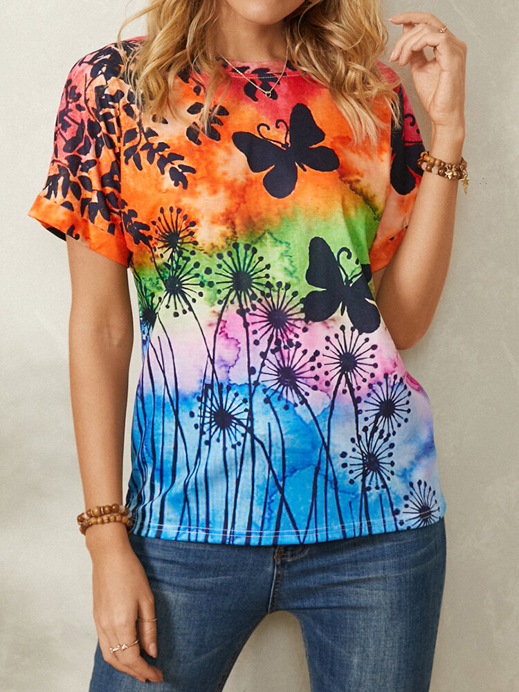 Butterfly Print O-neck Short Sleeve Casual T-Shirt For Women