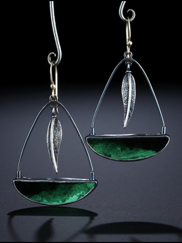 Vintage Lock-Shaped Leaf Earrings Glass Feather Pendant Earrings Women Jewelry Gifts