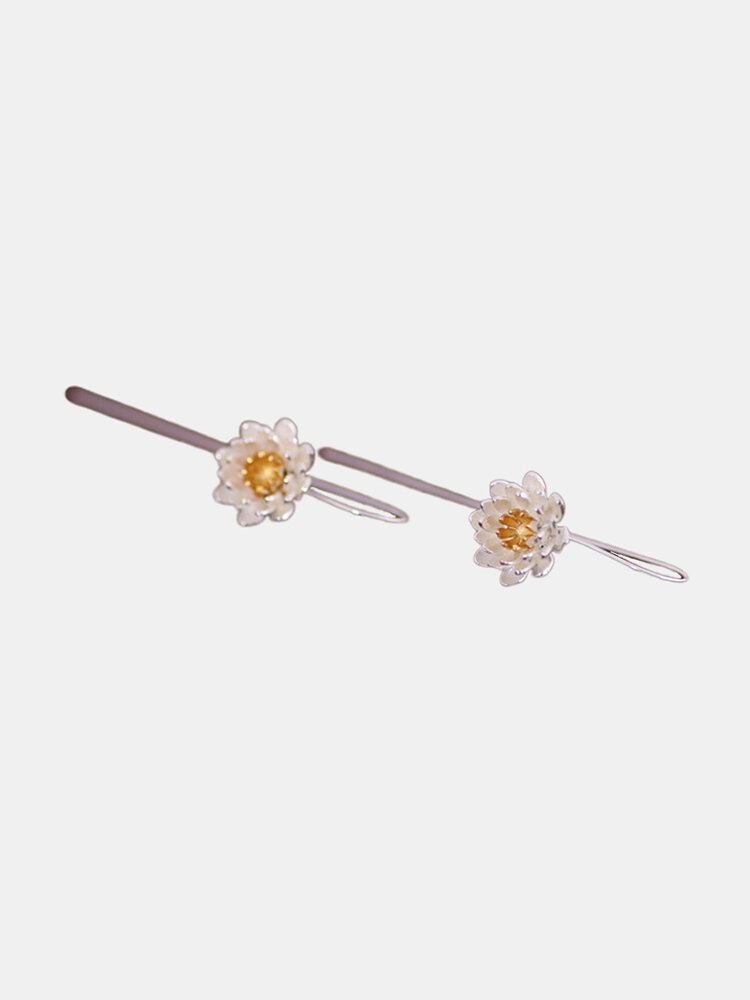 Vintage S925 Sterling Silver Pendant Earrings Temperament Flower Sterling Silver Long Earrings
