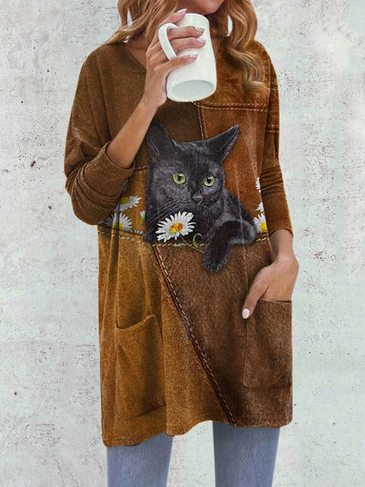 Fashion Cat Print O-neck Long Sleeve Plus Size Blouse with Pockets