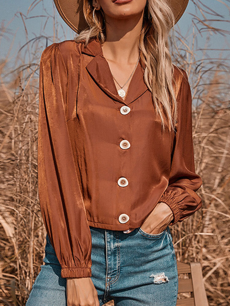 Solid Button Long Sleeve Lapel Blouse for Women