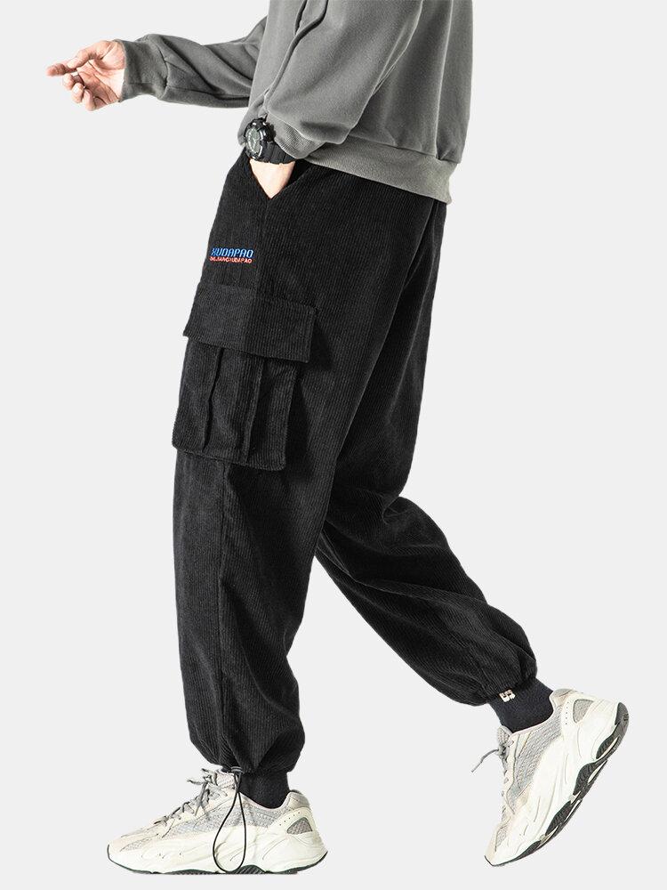 Pantalon cargo en velours côtelé brodé à lettre - Newchic - Modalova