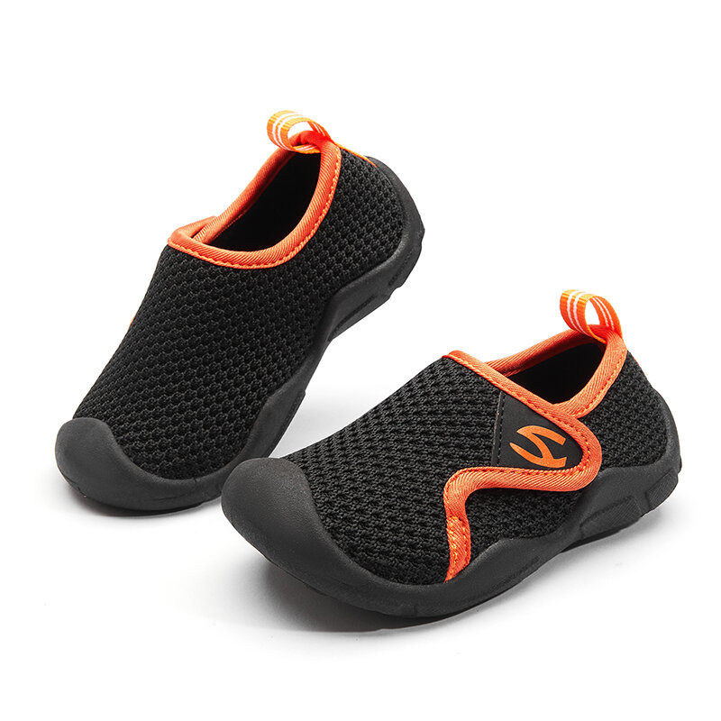 HOBIBEAR Unisex Kids Toddler Shoes Knitted Fabric Breathable Anti-collision Toe Soft Sole Sneakers